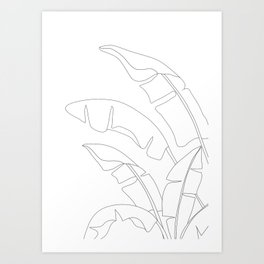 Minimal Line Art Banana Leaves Art Print
