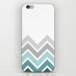 WHITE/ TEAL CHEVRON FADE iPhone Skin
