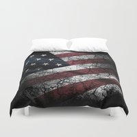 american flag Duvet Covers featuring AMERICAN FLAG by Happi Anarky