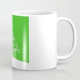 Christmas Tree Of Snowflakes and Stars On Green Background Coffee Mug