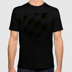 Lime green & turquoise hexagon pattern Mens Fitted Tee MEDIUM Black