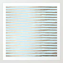 Abstract Stripes Gold Tropical Ocean Sea Turquoise Art Print