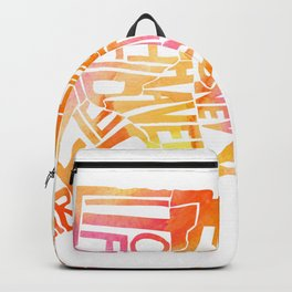 Typographic Connecticut - orange watercolor map Backpack