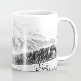 Fresh Snow Dust // Black and White Powder Day on the Mountain Coffee Mug