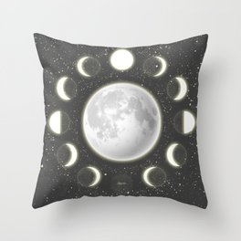 Telescope Dreamy Shine-Phases of the Moon Throw Pillow