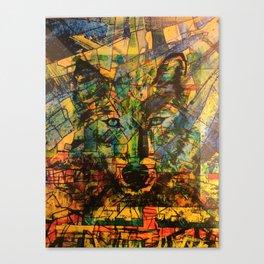 Wolf Stylized Blue/Green/Yellow Canvas Print