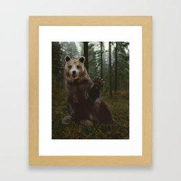 Bear Waving Hello Framed Art Print