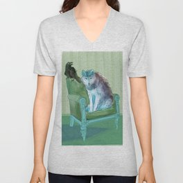animals in chars #3 The Wolf and the Raven Unisex V-Neck