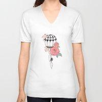 hot air balloon V-neck T-shirts featuring Hot Air Balloon Ride  by holmeg_art
