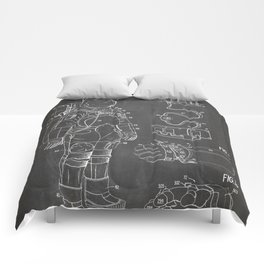 Nasa Apollo Spacesuite Patent - Nasa Astronaut Art - Black Chalkboard Comforters
