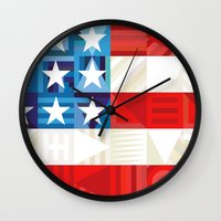 america Wall Clocks featuring America by Fimbis