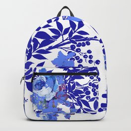BLUE AND WHITE ROSE LEAF TOILE PATTERN Backpack