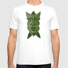 Green Man White SMALL Mens Fitted Tee