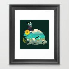 Rabbit Sky - (Forest Green) Framed Art Print