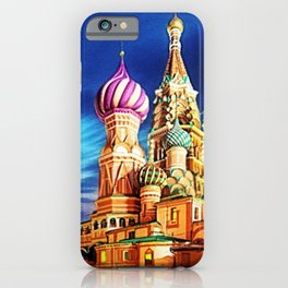 St. Basil's Cathedral, Moscow landscape painting by Jeanpaul Ferro iPhone Case