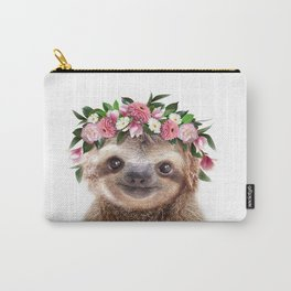 Baby Sloth With Flower Crown, Baby Animals Art Print By Synplus Carry-All Pouch