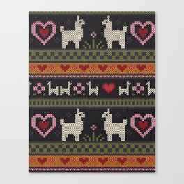 Llama Love Knit Canvas Print