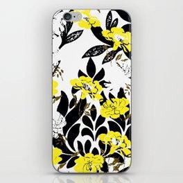 DAMASK PATTERN BLACK WHITE YELLOW TOILE iPhone Skin