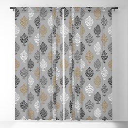 Orna Damask Pattern BW Grays Gold Blackout Curtain