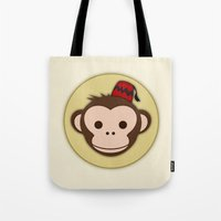 fez Tote Bags featuring Monkey with Fez by JaggedGenius