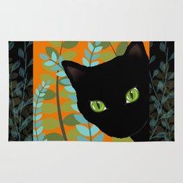 Black Kitty Cat In The Garden Rug