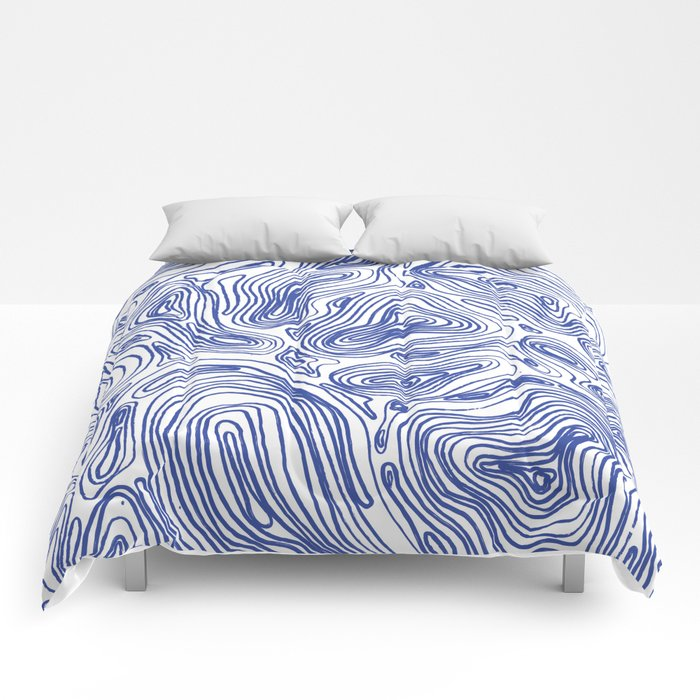 Topographical Lines in Blue Comforters