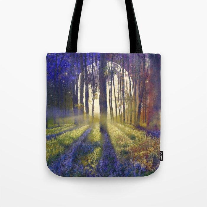 moonlight forest landscape Tote Bag