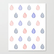 Rose quartz, serenity blue and lilac grey raindrops Canvas Print