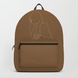Line art abstract girl with coffee illustration Backpack