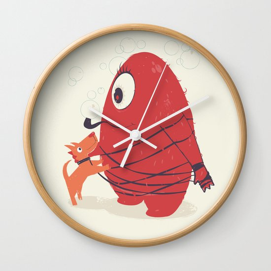 Cyclopes Monster Blob & Orange Dog Wall Clock