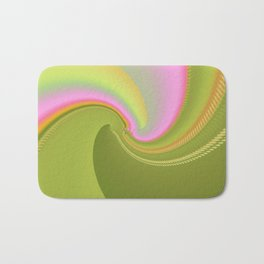 Pink and Green Curves Fractal Abstract Art Bath Mat