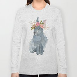bunny with flower crown Long Sleeve T-shirt