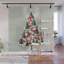 Vintage Christmas Tree Village Wall Mural