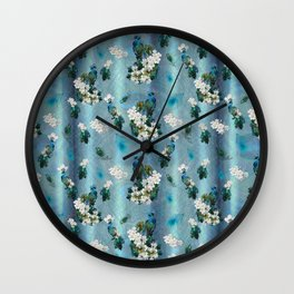 Peacocks & Feathers on a Running Pattern Wall Clock