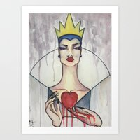 evil queen Art Prints featuring Evil Queen by Estrela de Papel
