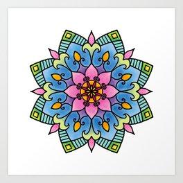 Colourful Botanical Mandala Art Print