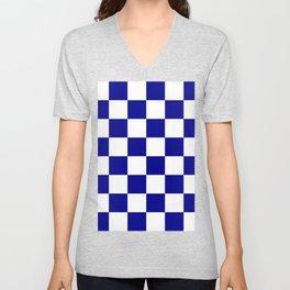 Large Checkered - White and Dark Blue Unisex V-Neck