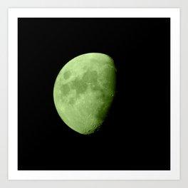 4K Dark Side of the Moon Lime Green Art Print