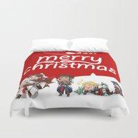 assassins creed Duvet Covers featuring Christmas Assassins by ARI RIZKI