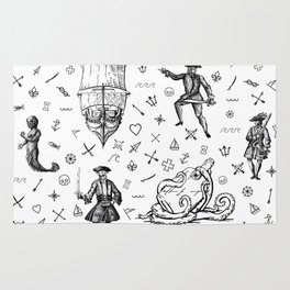 Pirate's Life Stick and Poke Illustration Rug