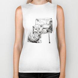 Paint a happy little cat Biker Tank