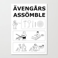 Superheroes Assembling - Black & White Canvas Print