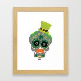 Irish Sugar Skull Funny St Patricks Day Framed Art Print