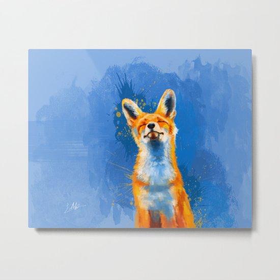 Happy Fox v2 Metal Print