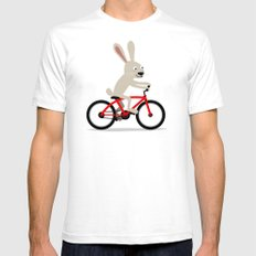 Bunny riding bike SMALL White Mens Fitted Tee