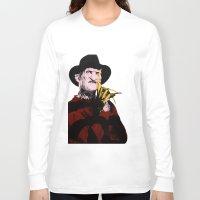 freddy krueger Long Sleeve T-shirts featuring Horror Series Pop Art: Freddy Krueger by AlyBee