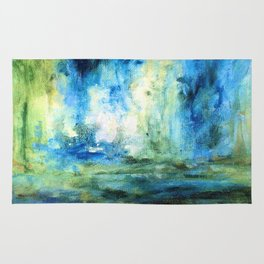 Contemporary Abstract Painting Spring Rain Rug