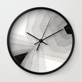 Neutral Tint: Abstract Geometric Watercolor Wall Clock