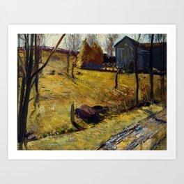 George Bellows - Haystacks and Barn Art Print