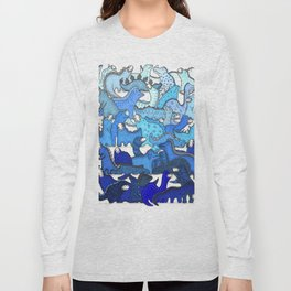 Blue Dinosaur Gradient Long Sleeve T-shirt